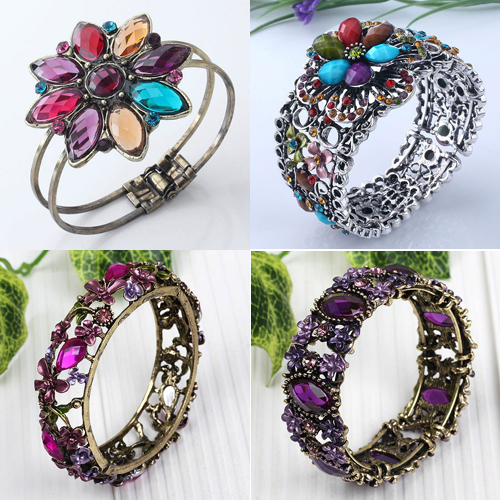 metal alloy flower bangle